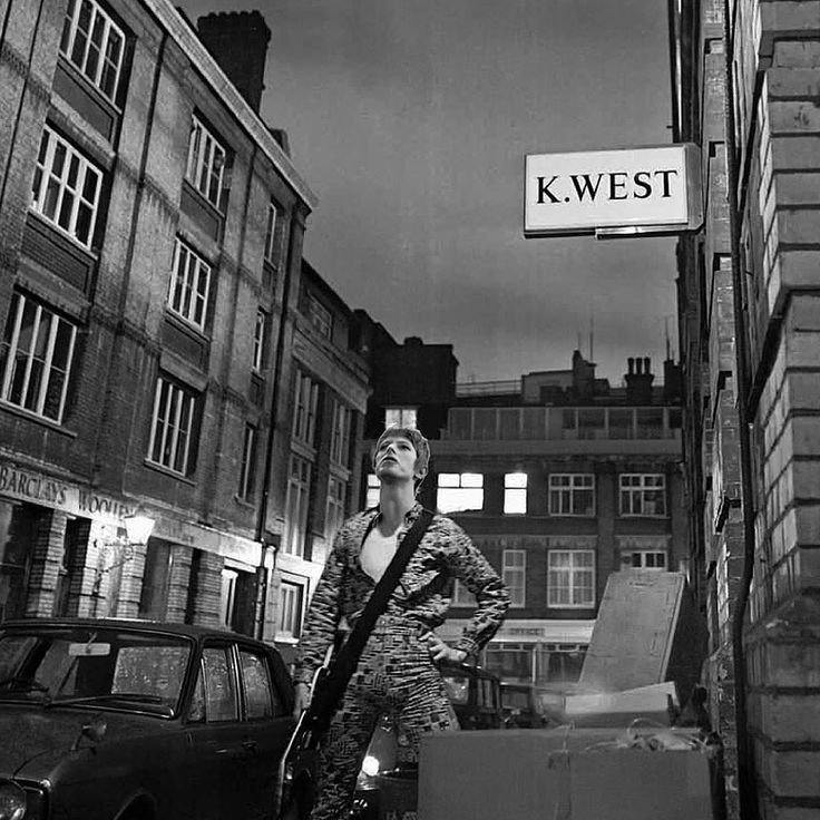 David Bowie at 23 Heddon Street, London shooting the cover for Ziggy Stardust