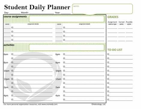Student Daily Planner - you don't have to be in school to be a student :)
