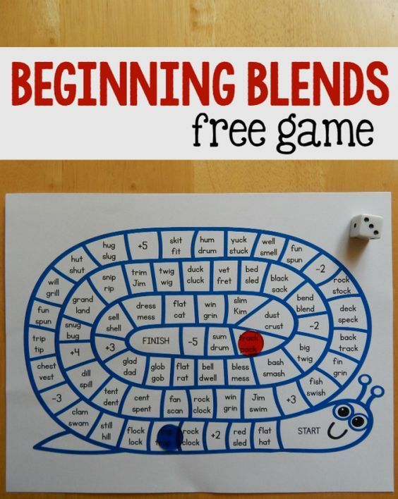 "Free game for beginning blends.    Use this fun game during center time or in small group instruction.    ""Print this free, fun game to help your students master those tricky beginning blends! If your beginning reader needs help with those tricky beginning blends, try this game!  This is a simple game to print and play.  After you print it, get playing pieces and a die. Move around the board and read each pair of words that you land on.  Whoever gets to Finish first, wins. Simple!"""