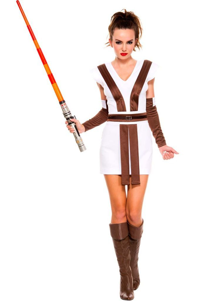 Sexy Star Warrior Costume (female Jedi) - includes white tunic w/ built in brown tabard and gauntlets.