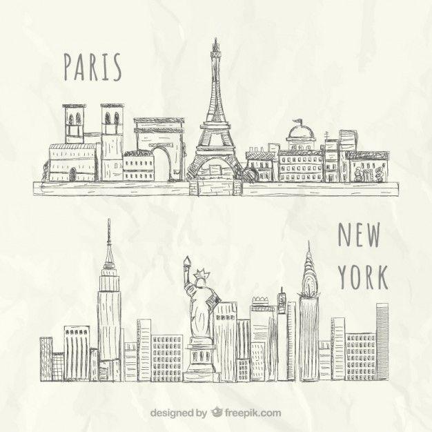 Horizontes esbozados de Nueva York y París Vector Premium