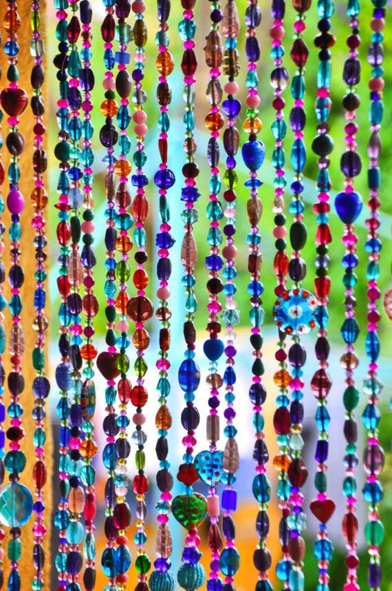 Beaded curtain Hanging beads  Bohemian Curtain by RonitPeterArt