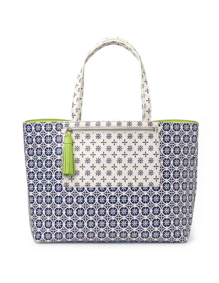 Boden printed venice tote bag with added fluoro lining for Boden yellow bag