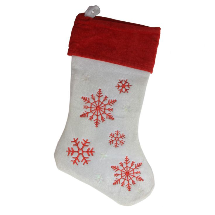 """19"""" Red and White Velvet Embroidered Snowflake Christmas Stocking"""