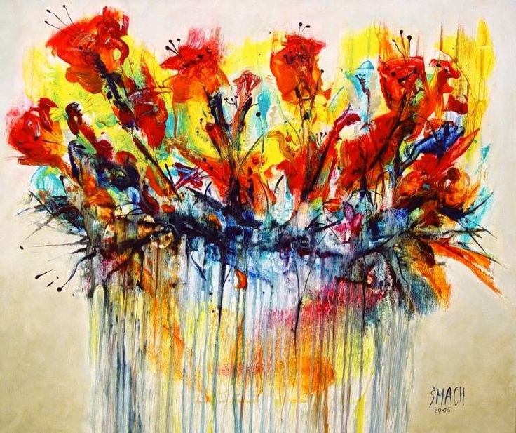 Buy Prints of SH578, a Acrylic on Canvas by Radek Smach from Czech Republic. It portrays: Floral, relevant to: red, yellow, fine art, expressionism, abstract, flowers, meadow, modern Original abstract layered painting on canvas.  Ready to hang. No framing required (it can be framed).  The sides of the painting are painted.