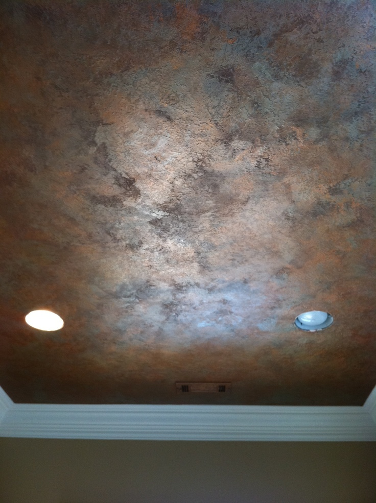 Knock down textured finish with metallic waxes on ceiling Faux finish