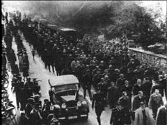 30,000 Jews being led to concentration camps after Kristallnacht. :(  Check out www.hankeringforhistory.com for more!