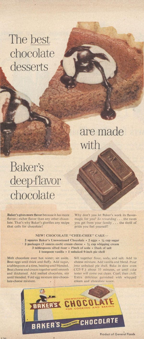 I love vintage recipes. Bakers chocolate cheesecake. It's chocolate- what more can be said?