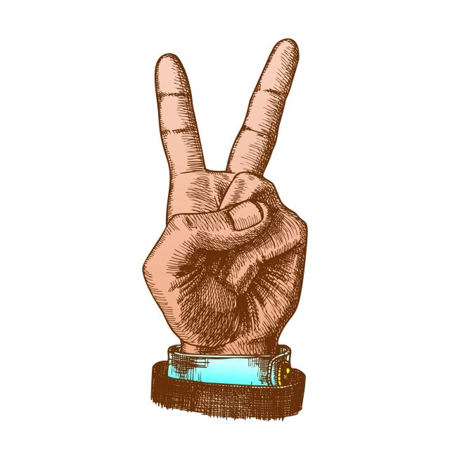 Hand Gesture Color Peace Symbol Two Finger Up Vector Gesture Hand Peace Png And Vector With Transparent Background For Free Download Emotional Art Color Vector Cartoon Illustration