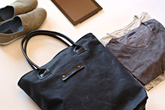 Waxed canvas bag  waxed canvas tote  by Creazionidiangelina
