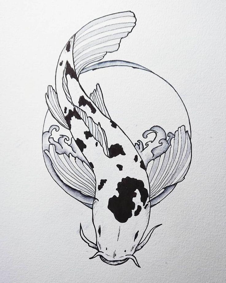 fish drawing koi ink drawings simple tattoo pen japanese nice water sketches koy draw finish illustration pez japan flowers artist