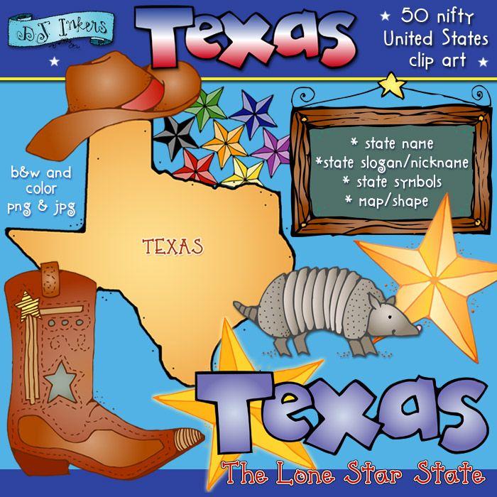 Howdy! We hope y'all enjoy these friendly smiles from the lone star state. Our Texas set includes a cowboy hat & boots, an armadillo, Texas star, wooden sign and a star cluster.  Each of our '50 Nifty United States' sets includes: the state name and slogan, local symbols & wildlife and the state map... all in black & white and color.   SAVE BIG when you get ALL 50 states on our 'Kidoodlez USA' collection!!!