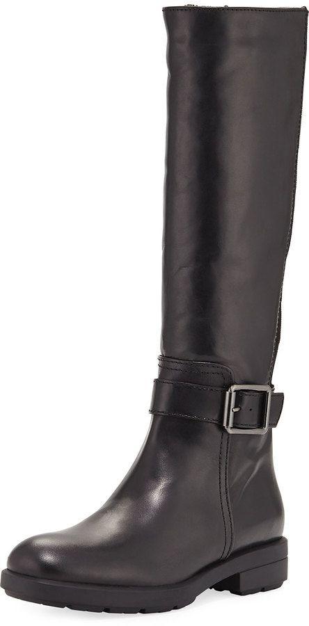 Aquatalia Lauryn Knee-High Stretch Boot, Black