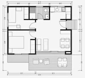 Plano casa dos dormitorios cocina comedor ba o 60 metros 2 for Planos de cuartos de bano pequenos