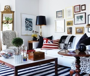 Preppy Home Decor Fair With Black and White Striped Rug Living Room Picture