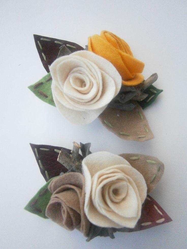 brooches-Beige-yellow felt roses