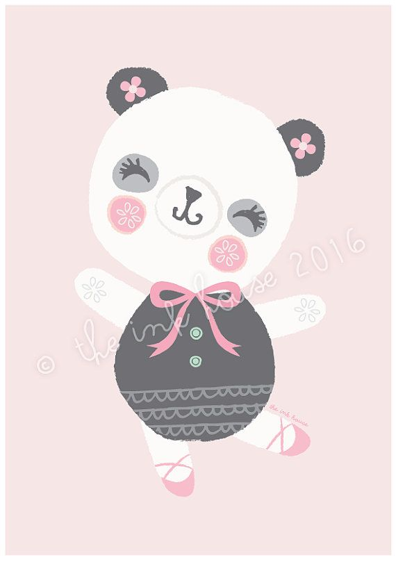 PANDA PRINT A4 wall art Illustration panda design by TheInkHouse