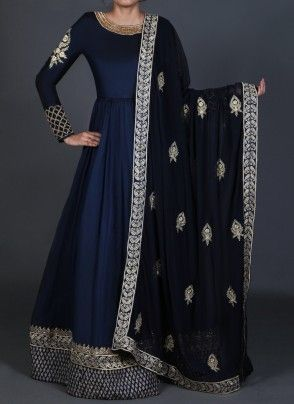Deep Blue Embroidered Anarkali Mehr