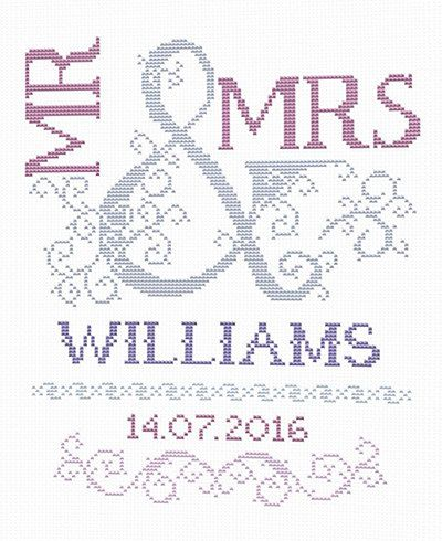 Scheme for cross stitch- Wedding Cross Stitch Pattern - Mr & Mrs- Wedding Gift…