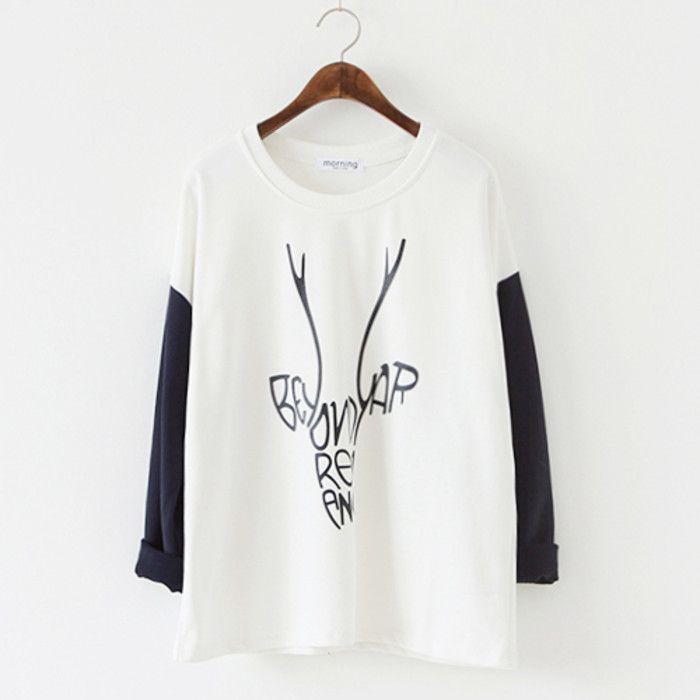 Ciervos Fan.  Color del encanto fresco ropa de manga larga Literario en otoño uniformes escolares de béisbol de cobertura suelta suéter femenino