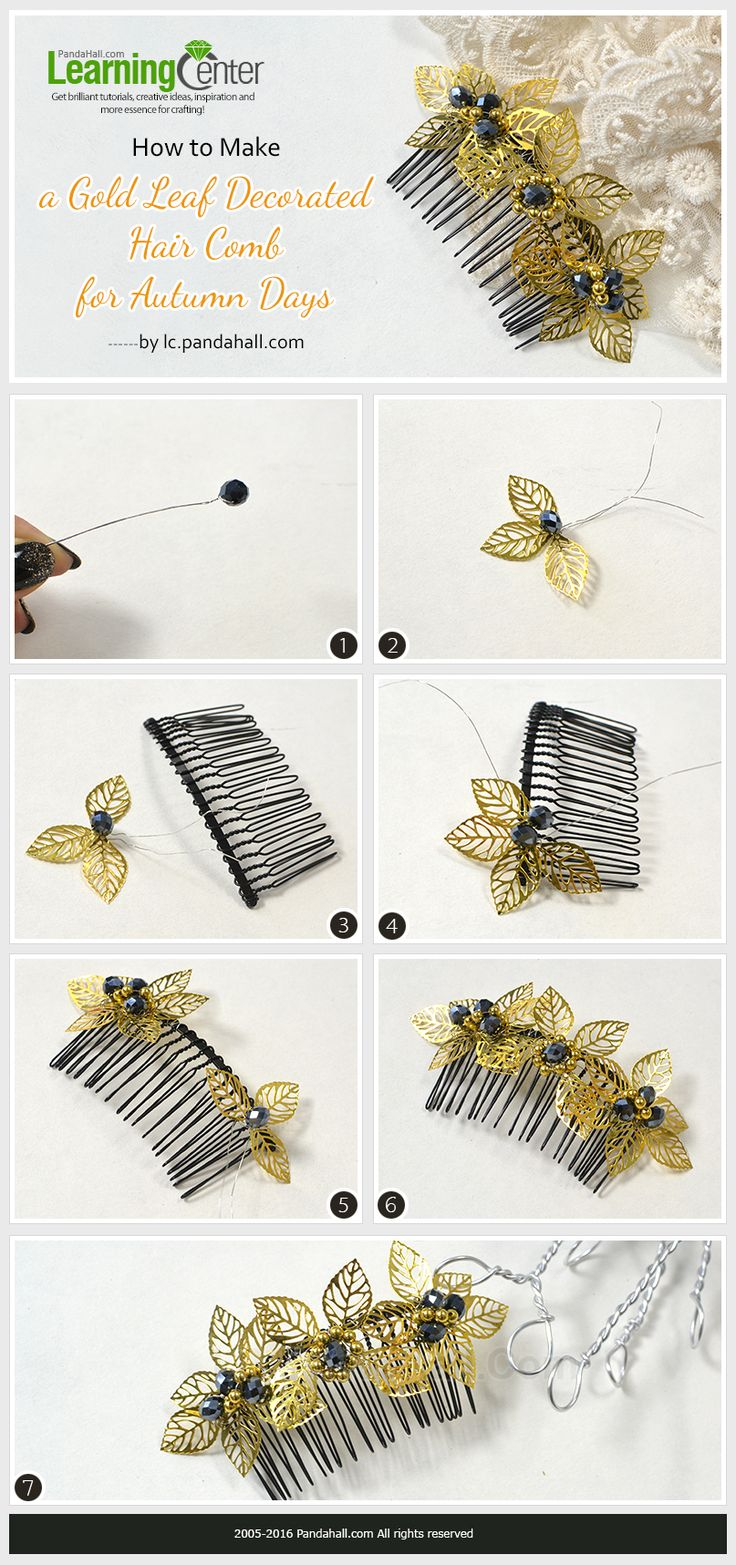 Diy hair accessories for weddings - How To Make A Gold Leaf Decorated Hair Comb For Autumn Days From Lc Pandahall