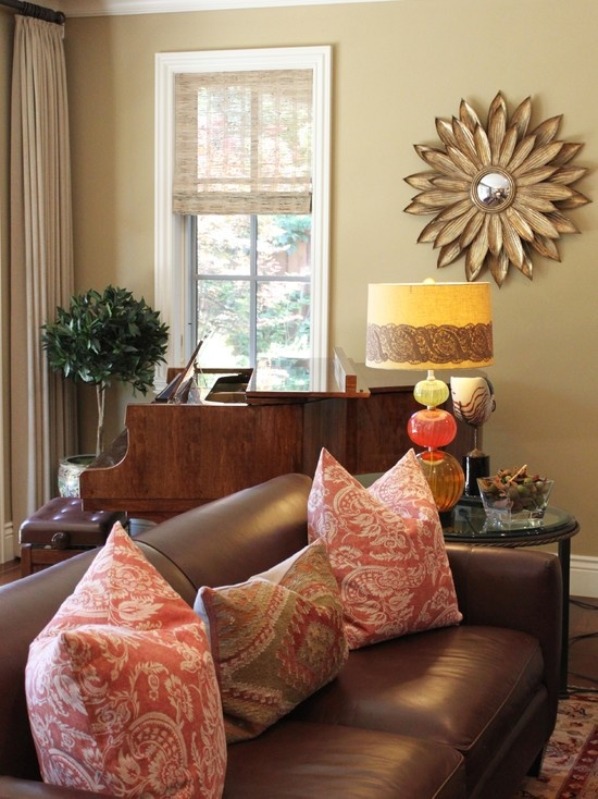 Spaces Brown Couch Design Pictures Remodel Decor And