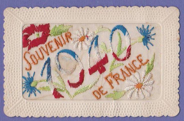 WW2 Silk Embroidered Postcard 1940 France