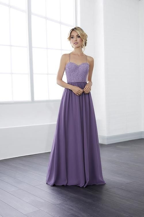 Jacquelin Bridals Canada - 22815 - Bridesmaids - A charming empire waist gown with a sweetheart neckline and spaghetti straps. Cutesy eyelash lace trim adorn the top of this gown, a pencil-thin satin belt the middle, and a long flowing chiffon skirt the bottom. Complete with a button-up back and a zipper on the skirt's back.