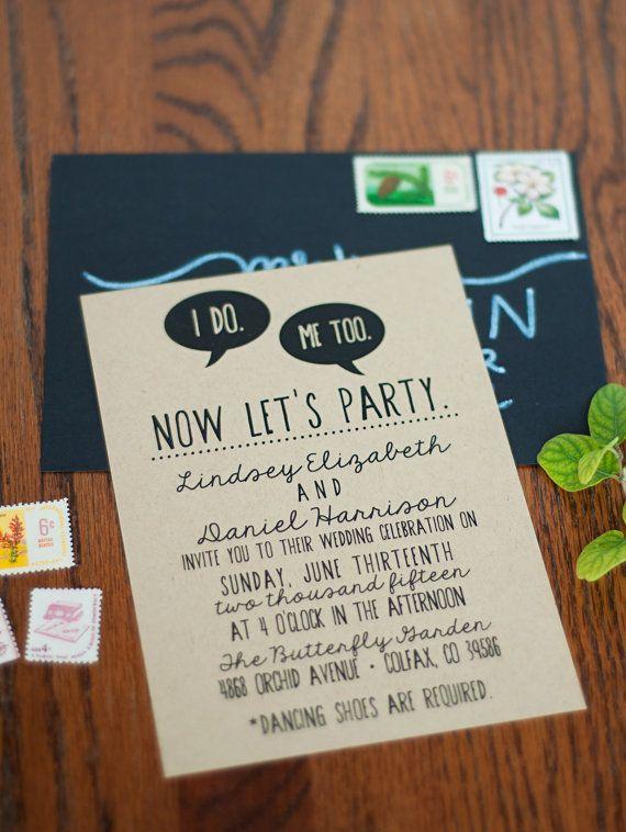 DIY Wedding Invitation Suite DEPOSIT - Printable, Custom, Quirky, Kraft Paper, Funny, Hipster, Invite Kit, Digital (Wedding Design #43)