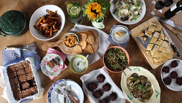 The casual vegetarian dinner party that includes sweet potato and chilli chips, beetroot burgers with barley salad, chargrilled aubergines with chermoula, vegetable rice and feta tart, red lentil pâté, pear and parmesan salad and end with gooey chocolate brownies.