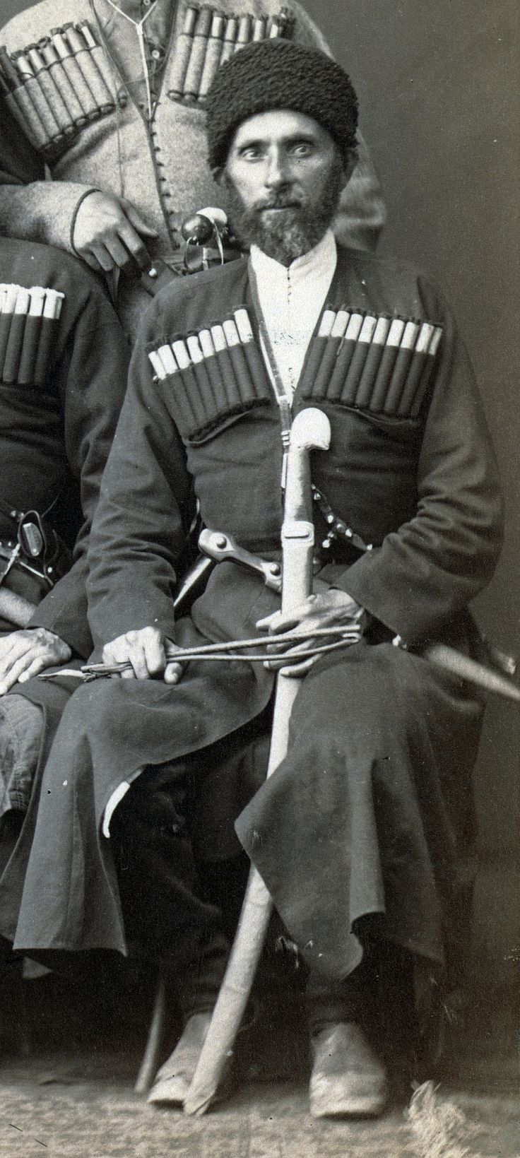 Circassian man in uniform by Abdullah Frères, 1880. (shown with shashka sword, kindjal / qama dagger and horse crop / whip).