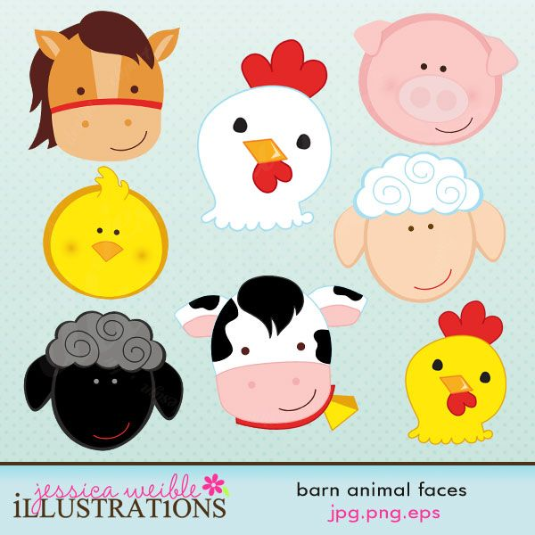 This cute set of Barn Animal Faces comes with 8 graphics including: a horse, a chicken, a pig, a chick, a sheep, a black sheep, a cow and a rooster    Graphics are made in High Quality 300 dpi and come in JPG, PNG & EPS format.
