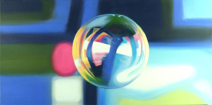 Rachelle Kearns - 'Bubbly' - Around the bend, acrylic paint on canvas, 24 x 48 inches #bubble #light #painting
