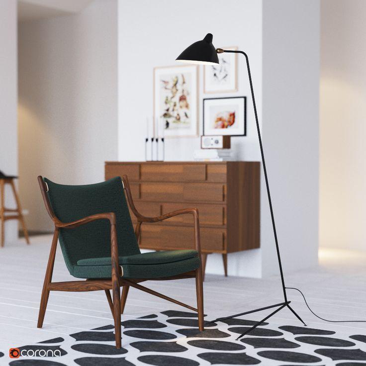 Standing Lamp by Serge Mouille 1953   Vladimir Pospelov 3d artist Blog