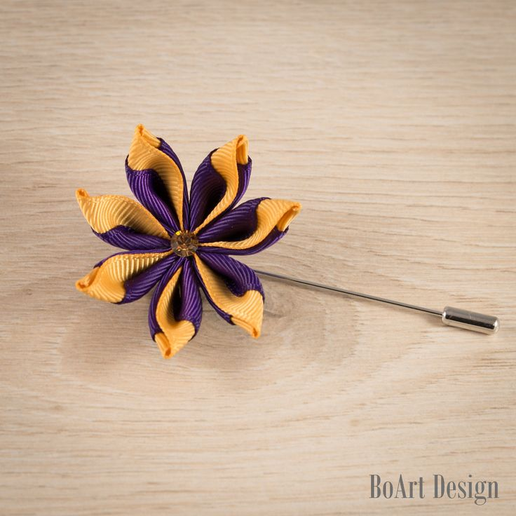 Purple/Gold Kanzashi Flower Lapel Pin with Swarovski Smoked Topaz Crystal/Lapel Pin/Lapel Flower/Men Lapel Flower/Wedding Accessories/Brooch by BoArtDesign on Etsy
