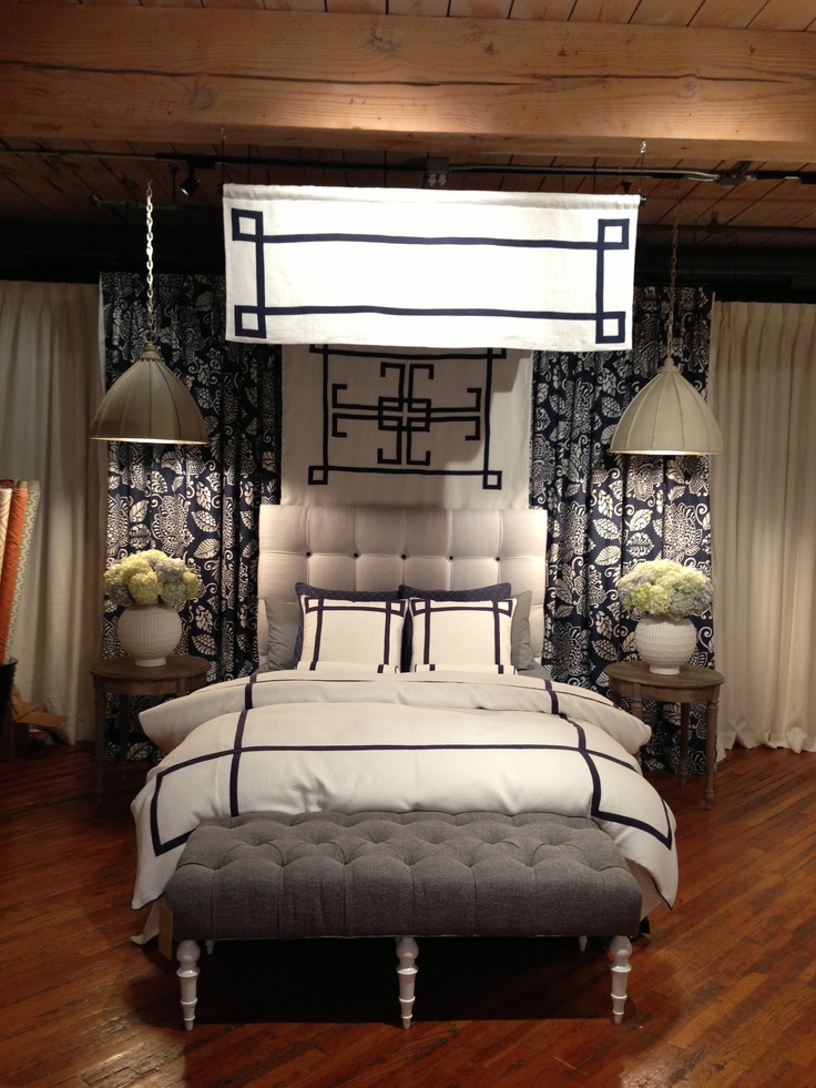 STUNNING bedding vignette- I just love it all at Thibault Design. Canopy,  headboard