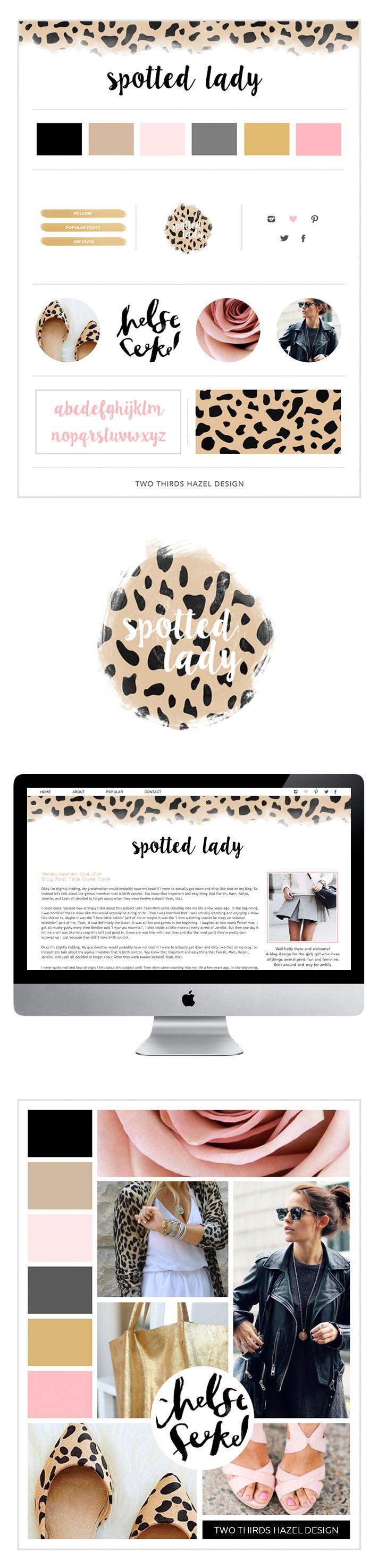 Leopard logo. Pink and gold blog design. Girly graphic design. Leopard print. Two Thirds Hazel Design.