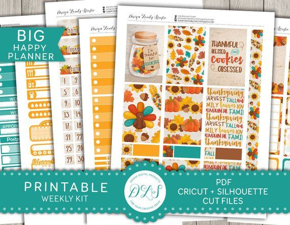 d73f13a5fa5e4 This Thanksgiving themed weekly printable stickers kit from Design ...