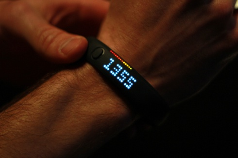 "Nike+ Fuelband. Great gift idea for someone close @ $150. LED lights indicate how ""good"" you are doing that day according to fitness goals."