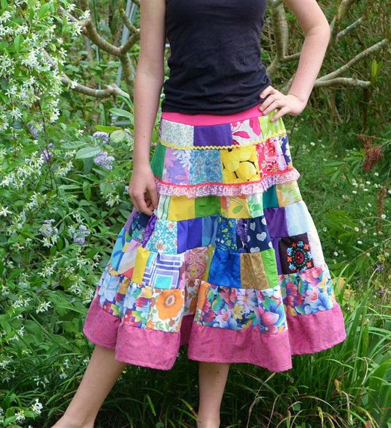 Goddess In Training Girls Patchwork Twirl Skirt by eviegreenpixie