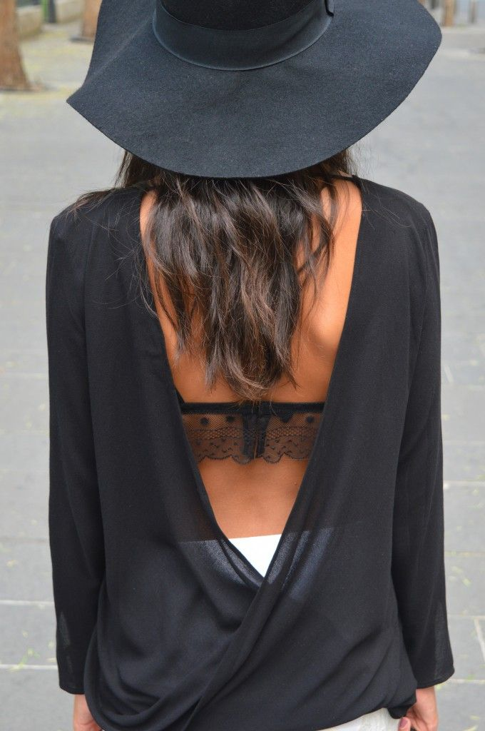 Jupe dentelle dos nus zara chapeau tenue mode idée noir tendance automne hiver 2014 2015 mode blog mode fashion chapeau