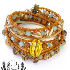 "Bracelet wrap ""apache"" 2 tours, 2 rangs, en cuir, perles miyuki et fantaisies"