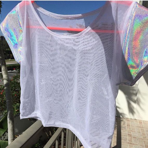 White Mesh Crop Top with Holographic Cap Sleeves – Mi Gente Clothing
