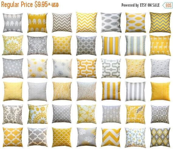 SALE Throw Pillow Cover, Yellow and Grey Pillows, Mix & Match, Yellow Pillow Case, Zippered Pillow, Decorative Pillow, Couch Pillows, Cushio by ModernalityHomeDecor on Etsy https://www.etsy.com/uk/listing/71788055/sale-throw-pillow-cover-yellow-and-grey