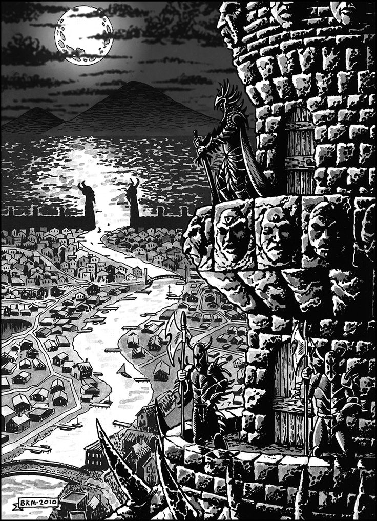 What evil king, can claim to be complete unless he has a tower to dream up his schemes from? This one comes complete with minions, sinister scultpures, and a townful of people to terrorize! Perfect for high, dark or classic OSR-style fantasy publication! A 300 dpi .tif image for you to use in your personal or commercial projects, subject to the included license information. File image size will be 1955 x 2700 pixels, large enough to be used as a full page illustration! All for only $4.00!