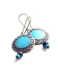 Enamel earrings - Turquise by Boroka Halasz http://www.h-art.com.au/#!earrings/cu9g