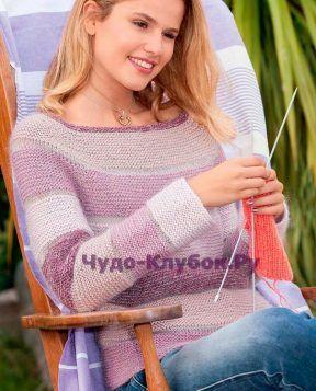 Пуловер с поперечными полосами 1347