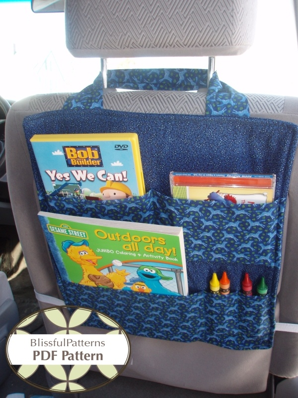 Car Seat Organizer - i so need to make this for My kids. Their stuff ends up under the seat where we can't get to it
