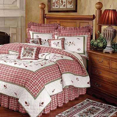 Rustic Pine quilt #ChoiceisYours.  I love the red and white bedding.