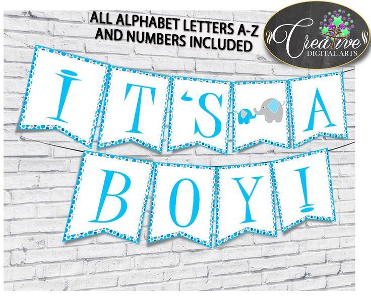 Best Baby Shower Boy Games Elephant Aqua Blue Invitations